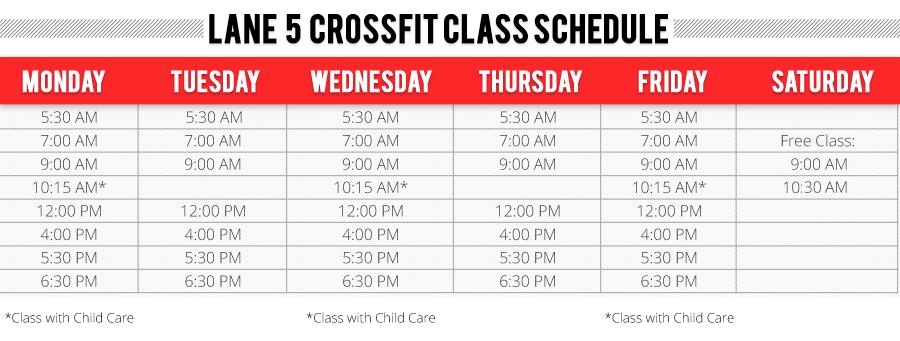 Lane 5 Crossfit Class Schedule